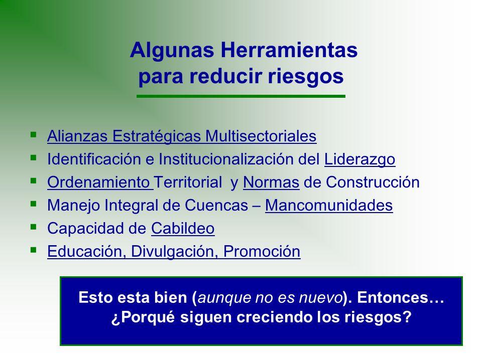 Algunas Herramientas para reducir riesgos Alianzas Estratégicas Multisectoriales Identificación e Institucionalización del Liderazgo Ordenamiento Terr
