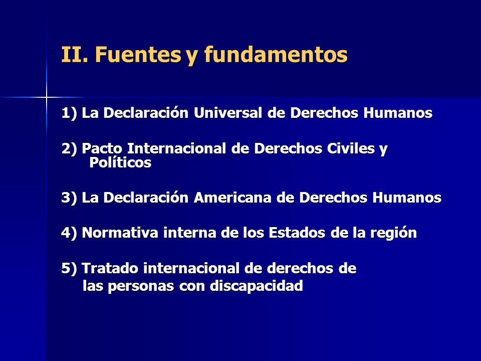 II. Fuentes y fundamentos 1) La Declaración Universal de Derechos Humanos 2) Pacto Internacional de Derechos Civiles y Políticos 3) La Declaración Ame