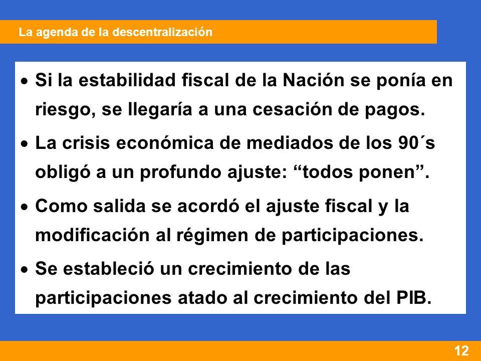 12 Si la estabilidad fiscal de la Nación se ponía en riesgo, se llegaría a una cesación de pagos.