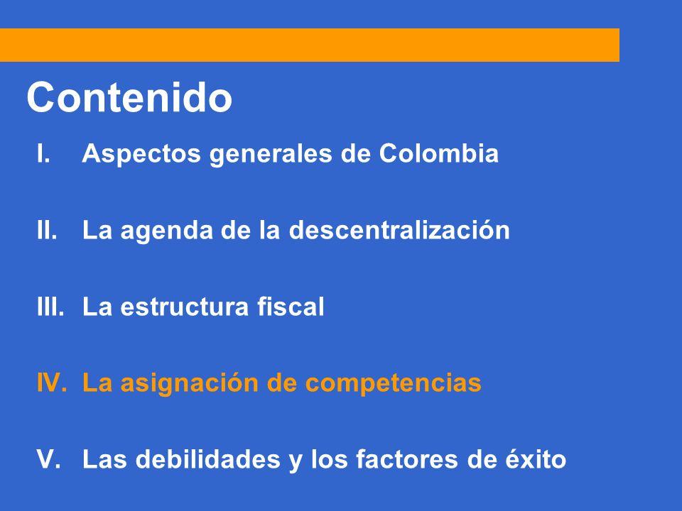 24 Contenido I.Aspectos generales de Colombia II.La agenda de la descentralización III.La estructura fiscal IV.La asignación de competencias V.Las debilidades y los factores de éxito