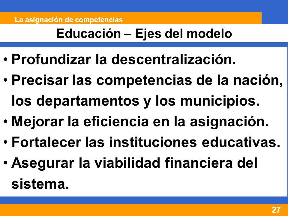 27 Educación – Ejes del modelo La asignación de competencias Profundizar la descentralización.