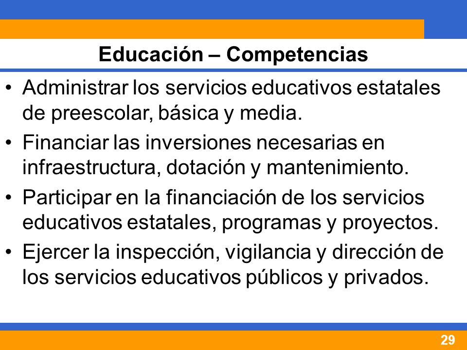 29 Administrar los servicios educativos estatales de preescolar, básica y media.