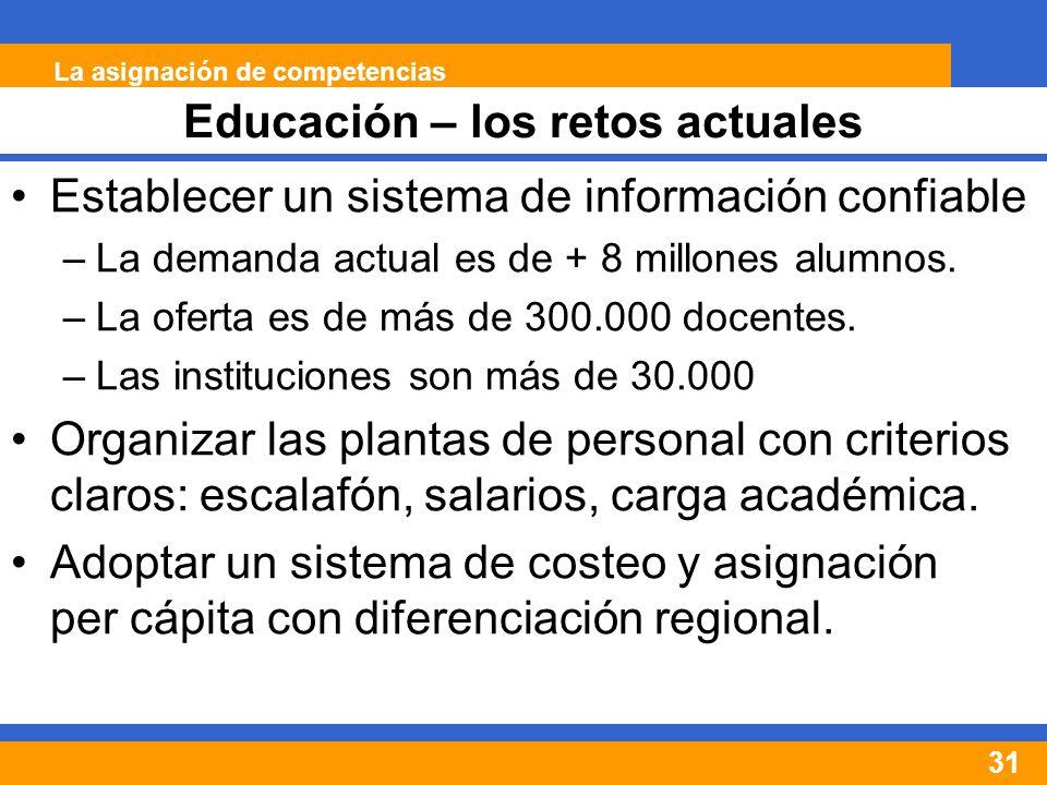 31 Establecer un sistema de información confiable –La demanda actual es de + 8 millones alumnos.