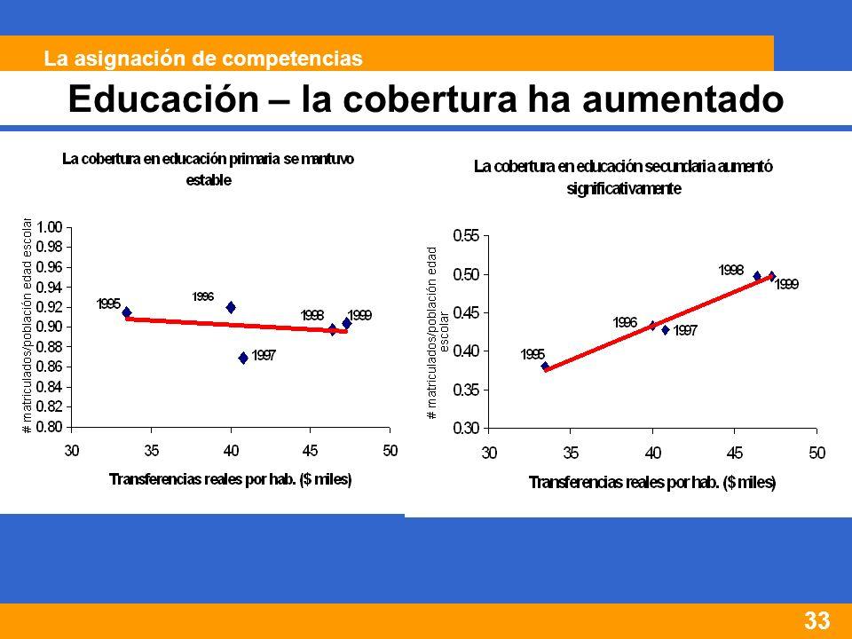 33 Educación – la cobertura ha aumentado La asignación de competencias