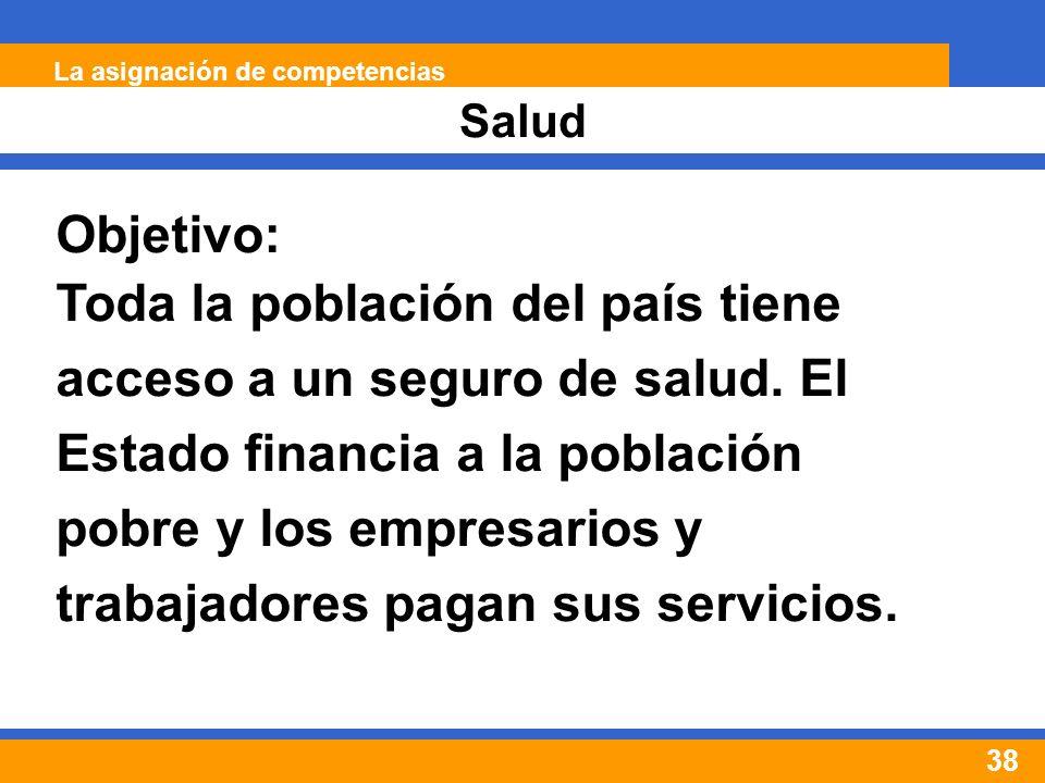 38 Salud La asignación de competencias Objetivo: Toda la población del país tiene acceso a un seguro de salud.