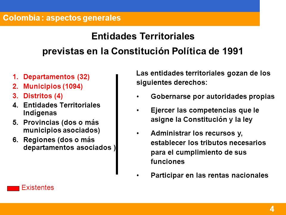 5 La población se ubica principalmente en la región Andina y en la Costa Caribe, en corredores urbanos regionales integrados.