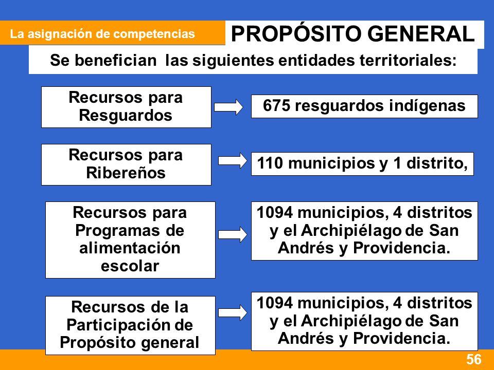 56 PROPÓSITO GENERAL Se benefician las siguientes entidades territoriales: Recursos para Resguardos 675 resguardos indígenas Recursos para Ribereños 110 municipios y 1 distrito, Recursos para Programas de alimentación escolar 1094 municipios, 4 distritos y el Archipiélago de San Andrés y Providencia.