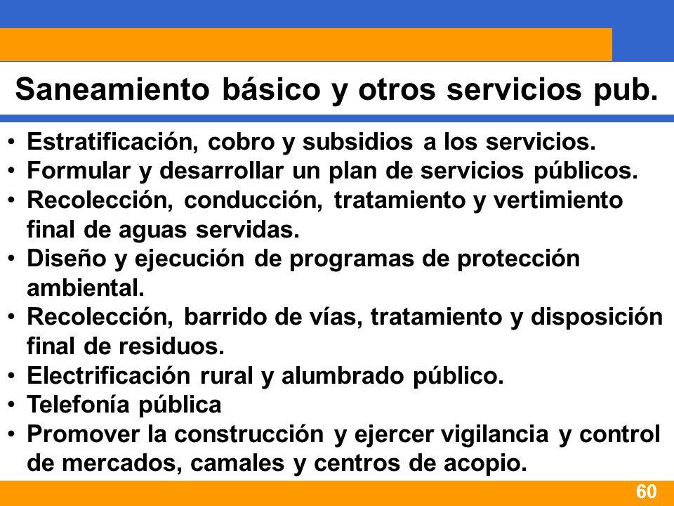 60 Saneamiento básico y otros servicios pub. Estratificación, cobro y subsidios a los servicios.
