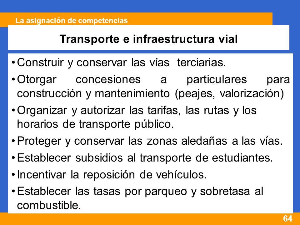 64 La asignación de competencias Transporte e infraestructura vial Construir y conservar las vías terciarias.