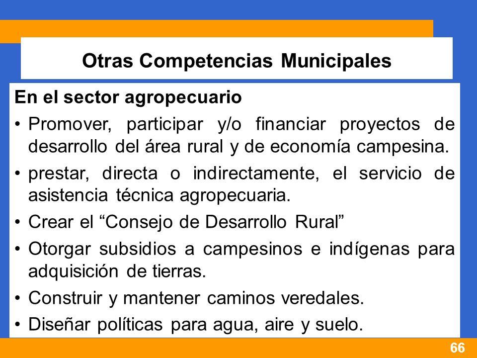 66 Otras Competencias Municipales En el sector agropecuario Promover, participar y/o financiar proyectos de desarrollo del área rural y de economía campesina.