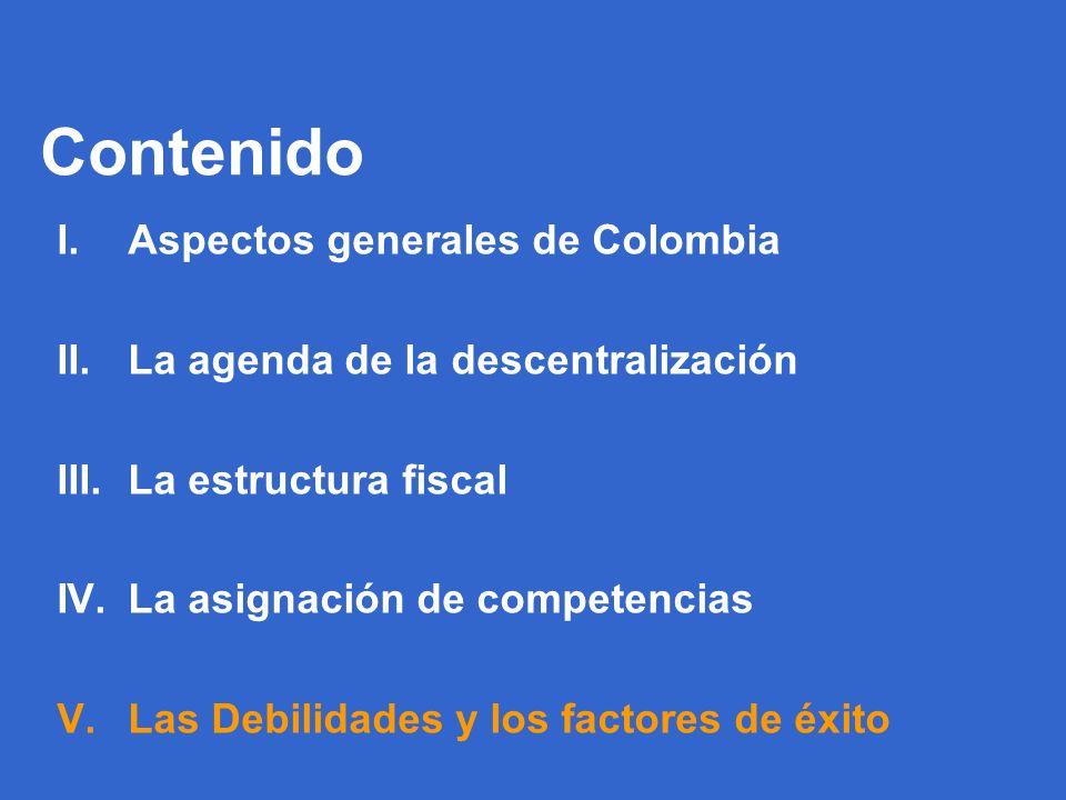 69 Contenido I.Aspectos generales de Colombia II.La agenda de la descentralización III.La estructura fiscal IV.La asignación de competencias V.Las Debilidades y los factores de éxito