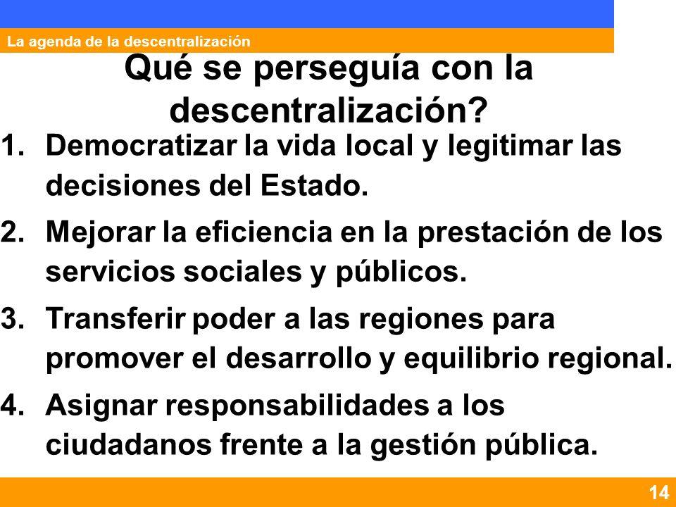 8 Los hitos en la descentralización La agenda de la descentralización Desconcentración Municipalización Constitucional Estabilización