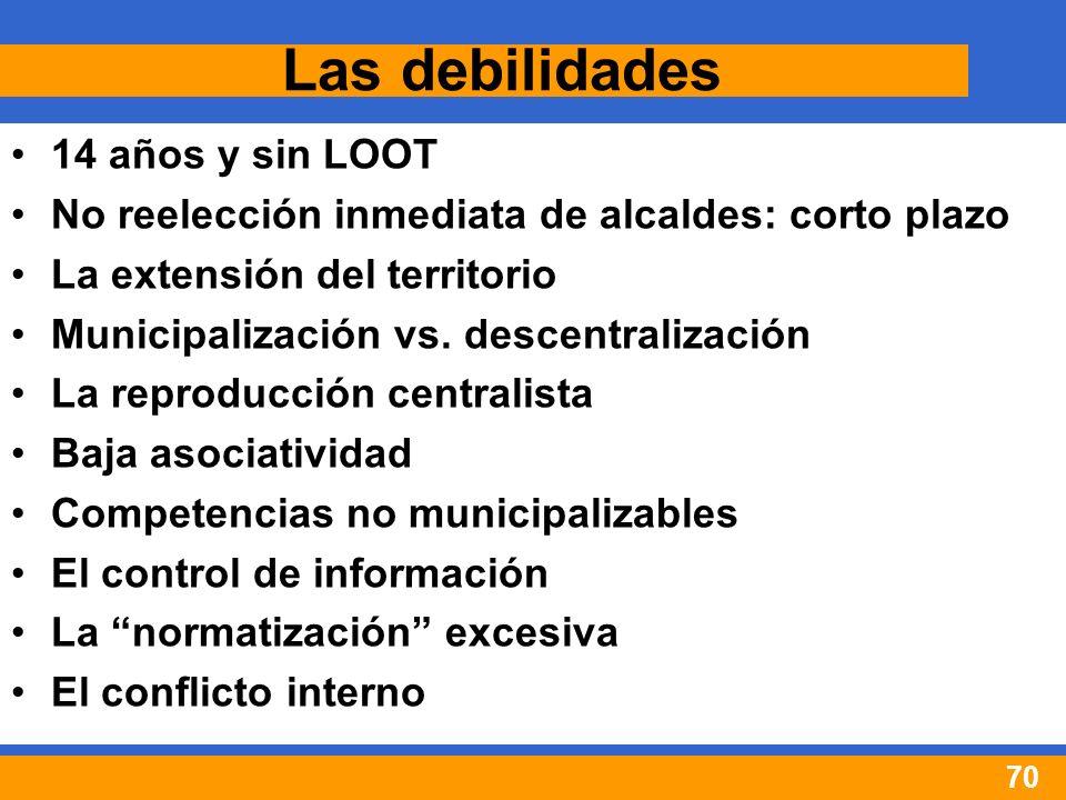 70 Las debilidades 14 años y sin LOOT No reelección inmediata de alcaldes: corto plazo La extensión del territorio Municipalización vs.