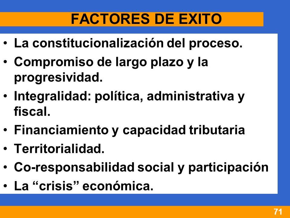 71 FACTORES DE EXITO La constitucionalización del proceso.