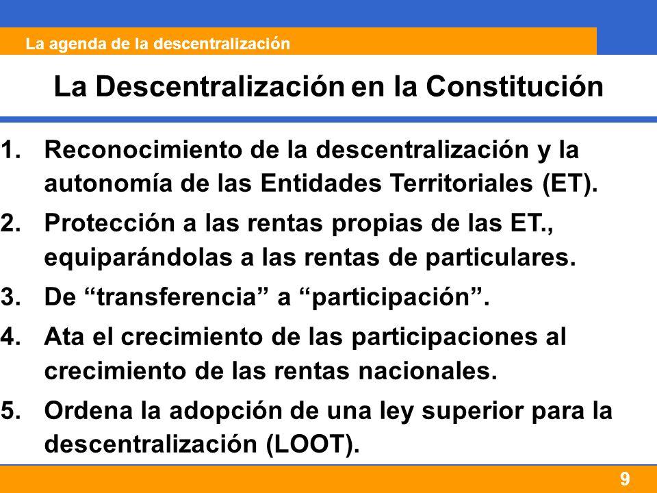 9 La Descentralización en la Constitución 1.Reconocimiento de la descentralización y la autonomía de las Entidades Territoriales (ET).