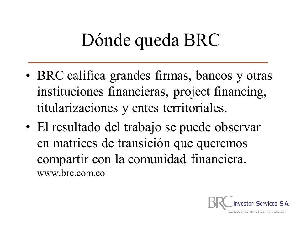 Dónde queda BRC BRC califica grandes firmas, bancos y otras instituciones financieras, project financing, titularizaciones y entes territoriales.