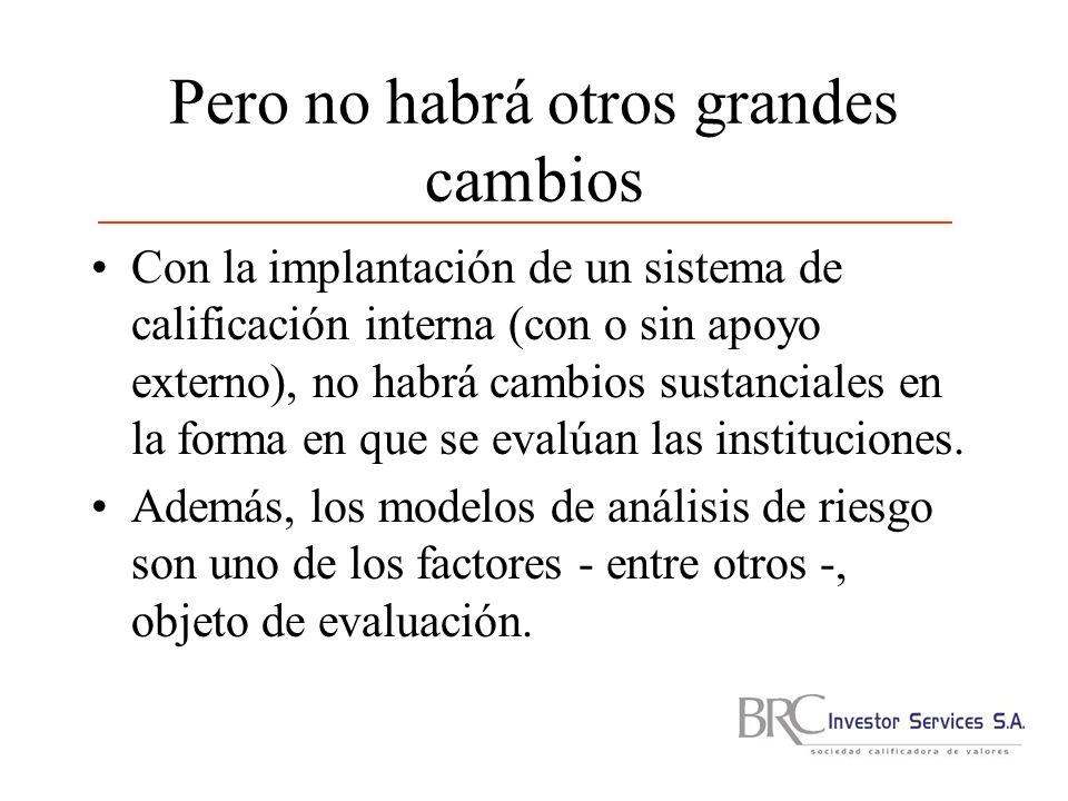 Pero no habrá otros grandes cambios Con la implantación de un sistema de calificación interna (con o sin apoyo externo), no habrá cambios sustanciales en la forma en que se evalúan las instituciones.