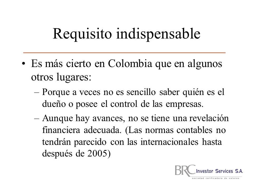 Requisito indispensable Es más cierto en Colombia que en algunos otros lugares: –Porque a veces no es sencillo saber quién es el dueño o posee el control de las empresas.