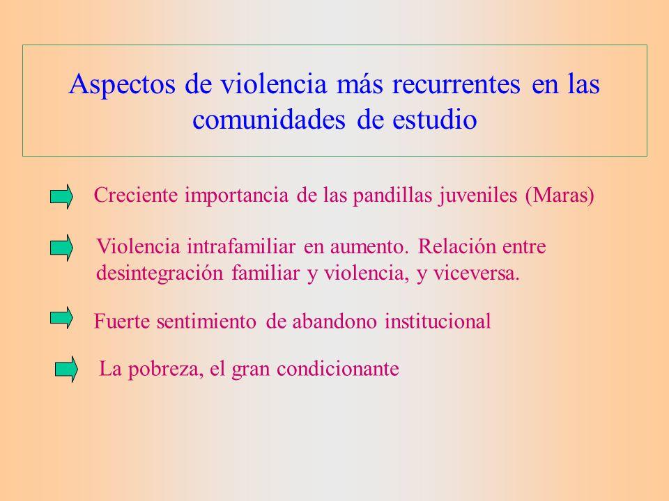 Violencia y vulnerabilidad Existen condiciones previas en base a una determinada estructura económica, social y cultural Existencia de población vulnerable: los habitantes de áreas precarias y colonias populares urbanas, en especial niñez y juventud.