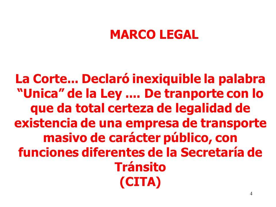 4 MARCO LEGAL La Corte... Declaró inexiquible la palabra Unica de la Ley....