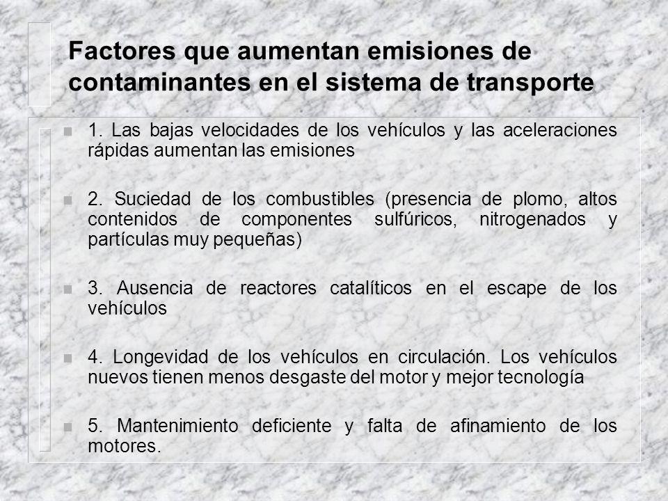 Factores que aumentan emisiones de contaminantes en el sistema de transporte n 1. Las bajas velocidades de los vehículos y las aceleraciones rápidas a