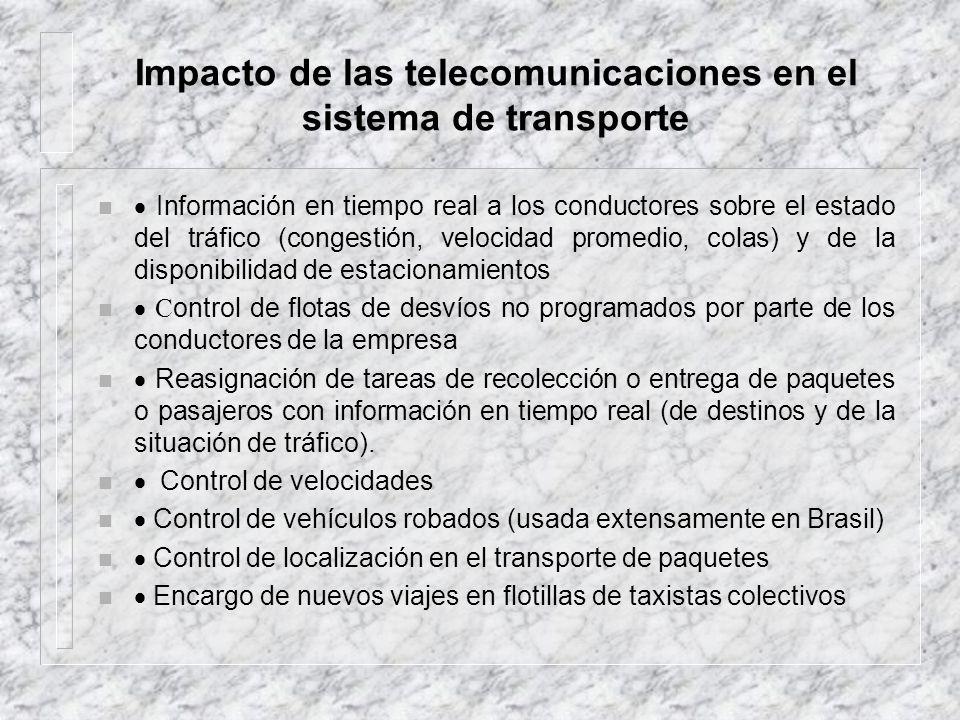 Impacto de las telecomunicaciones en el sistema de transporte n Información en tiempo real a los conductores sobre el estado del tráfico (congestión,