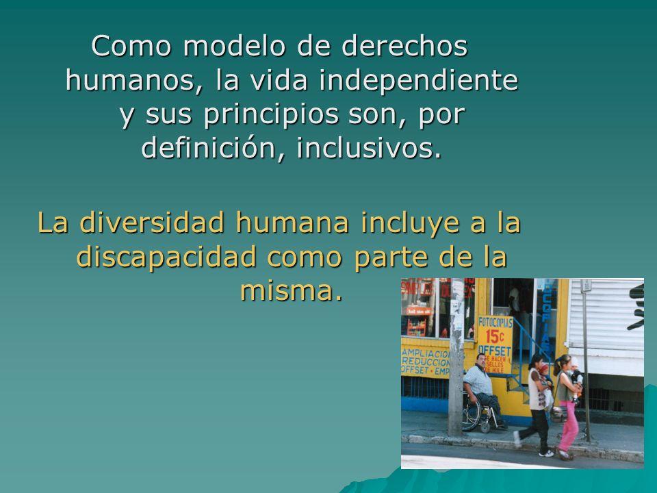 Como modelo de derechos humanos, la vida independiente y sus principios son, por definición, inclusivos. La diversidad humana incluye a la discapacida