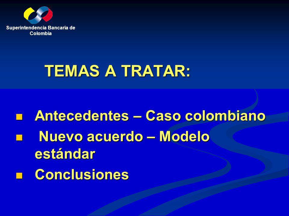 TEMAS A TRATAR: Antecedentes – Caso colombiano Antecedentes – Caso colombiano Nuevo acuerdo – Modelo estándar Nuevo acuerdo – Modelo estándar Conclusi