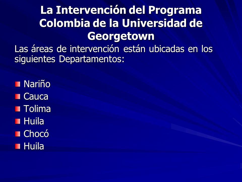 La Intervención del Programa Colombia de la Universidad de Georgetown Las áreas de intervención están ubicadas en los siguientes Departamentos: Nariño