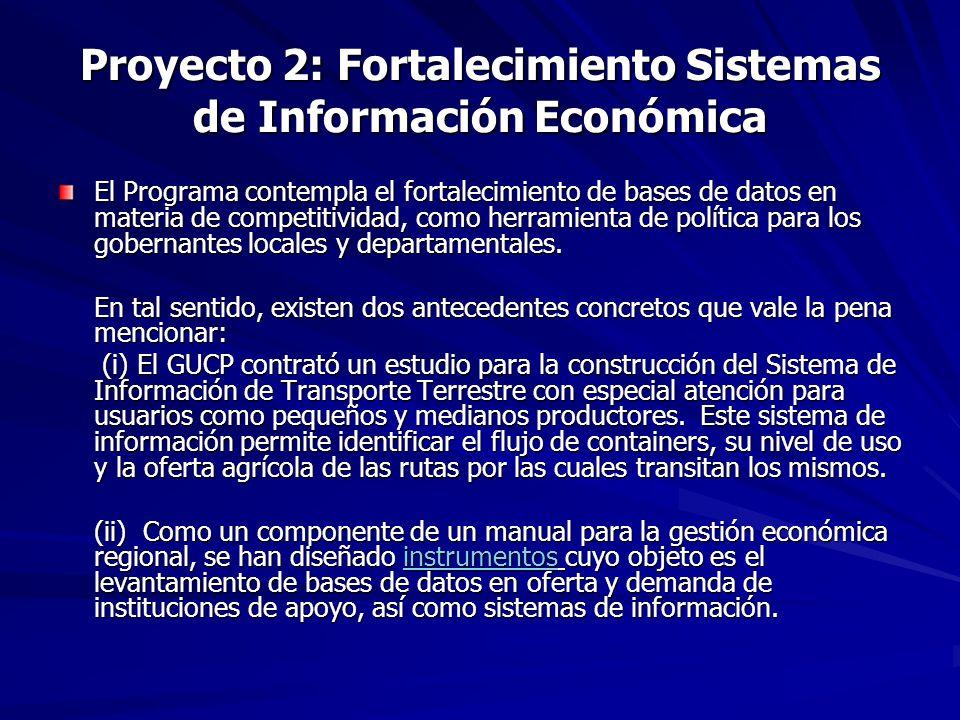 Proyecto 2: Fortalecimiento Sistemas de Información Económica El Programa contempla el fortalecimiento de bases de datos en materia de competitividad, como herramienta de política para los gobernantes locales y departamentales.