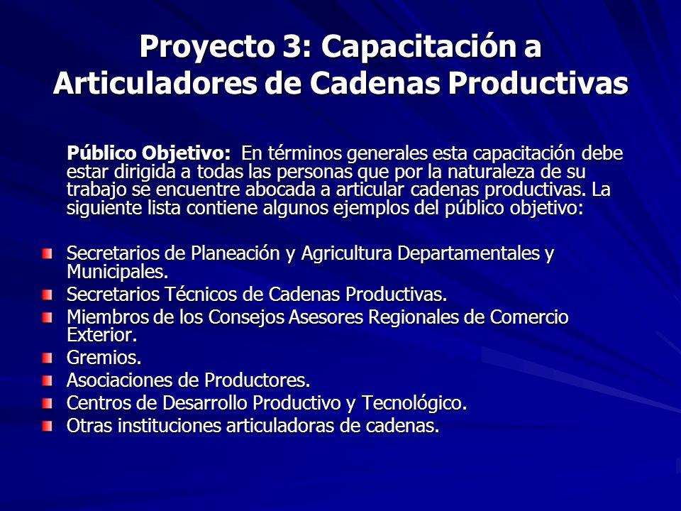 Proyecto 3: Capacitación a Articuladores de Cadenas Productivas Público Objetivo: En términos generales esta capacitación debe estar dirigida a todas las personas que por la naturaleza de su trabajo se encuentre abocada a articular cadenas productivas.