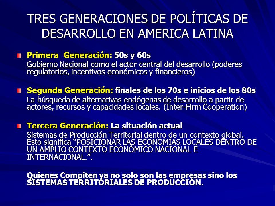TRES GENERACIONES DE POLÍTICAS DE DESARROLLO EN AMERICA LATINA Primera Generación: 50s y 60s Gobierno Nacional como el actor central del desarrollo (poderes regulatorios, incentivos económicos y financieros) Segunda Generación: finales de los 70s e inicios de los 80s La búsqueda de alternativas endógenas de desarrollo a partir de actores, recursos y capacidades locales.