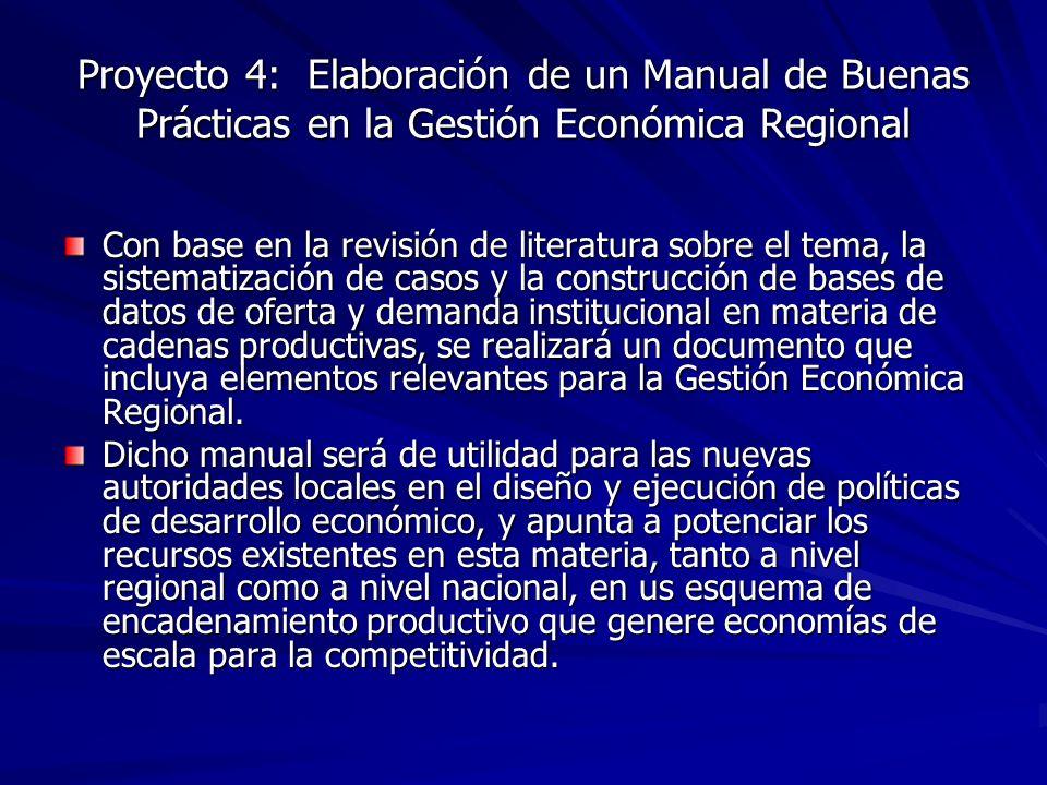 Proyecto 4: Elaboración de un Manual de Buenas Prácticas en la Gestión Económica Regional Con base en la revisión de literatura sobre el tema, la sist