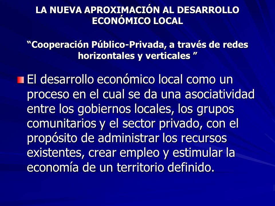 LA NUEVA APROXIMACIÓN AL DESARROLLO ECONÓMICO LOCAL Cooperación Público-Privada, a través de redes horizontales y verticales LA NUEVA APROXIMACIÓN AL DESARROLLO ECONÓMICO LOCAL Cooperación Público-Privada, a través de redes horizontales y verticales El desarrollo económico local como un proceso en el cual se da una asociatividad entre los gobiernos locales, los grupos comunitarios y el sector privado, con el propósito de administrar los recursos existentes, crear empleo y estimular la economía de un territorio definido.