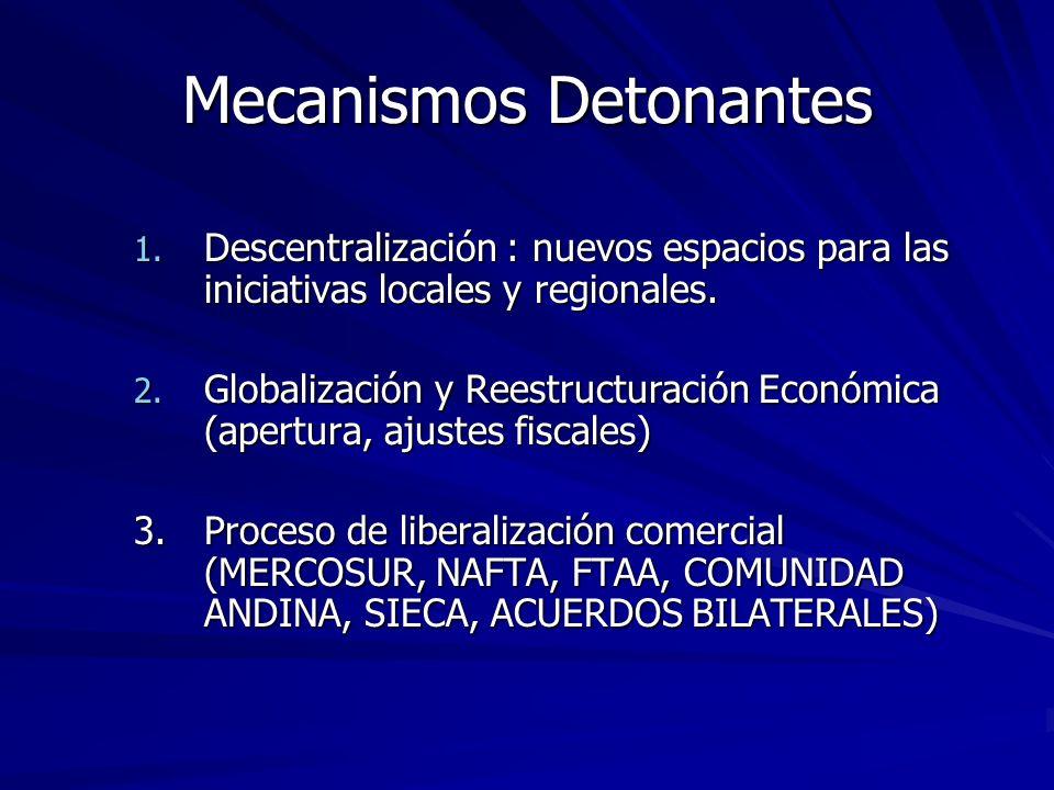 Mecanismos Detonantes 1. Descentralización : nuevos espacios para las iniciativas locales y regionales. 2. Globalización y Reestructuración Económica