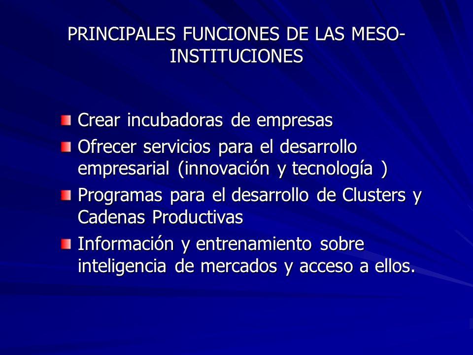 PRINCIPALES FUNCIONES DE LAS MESO- INSTITUCIONES Crear incubadoras de empresas Ofrecer servicios para el desarrollo empresarial (innovación y tecnología ) Programas para el desarrollo de Clusters y Cadenas Productivas Información y entrenamiento sobre inteligencia de mercados y acceso a ellos.
