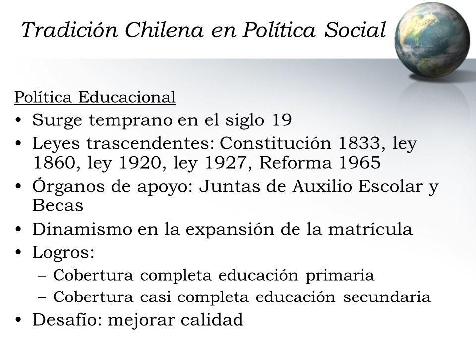 Tradición Chilena en Política Social Política Educacional Surge temprano en el siglo 19 Leyes trascendentes: Constitución 1833, ley 1860, ley 1920, le