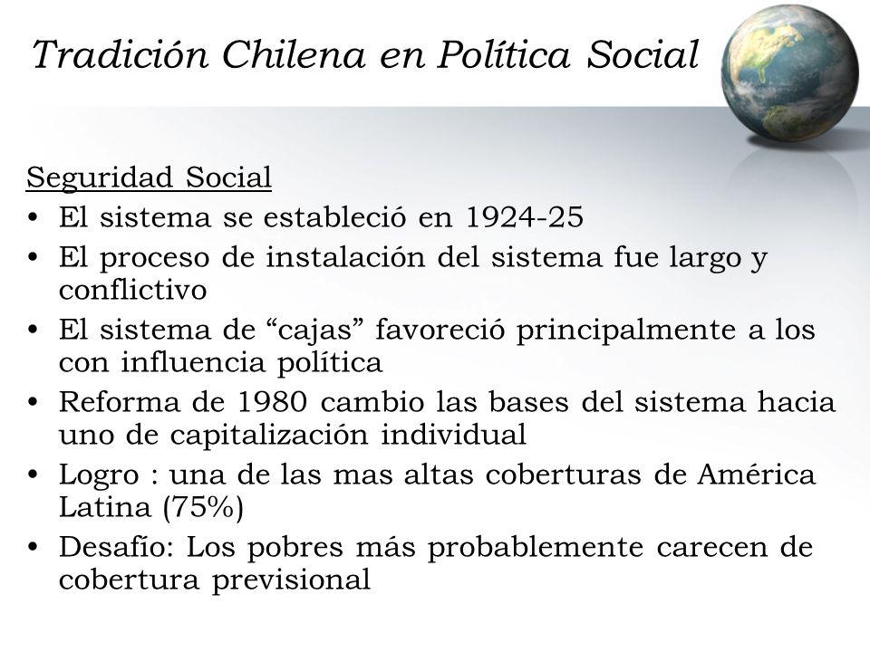 Tradición Chilena en Política Social Seguridad Social El sistema se estableció en 1924-25 El proceso de instalación del sistema fue largo y conflictiv