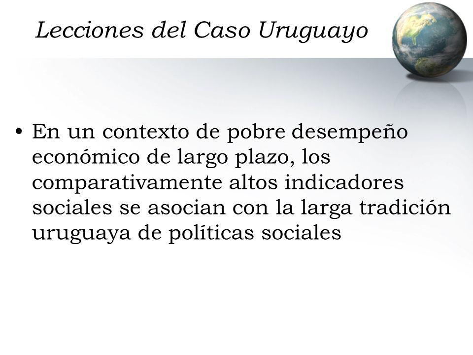 Lecciones del Caso Uruguayo En un contexto de pobre desempeño económico de largo plazo, los comparativamente altos indicadores sociales se asocian con