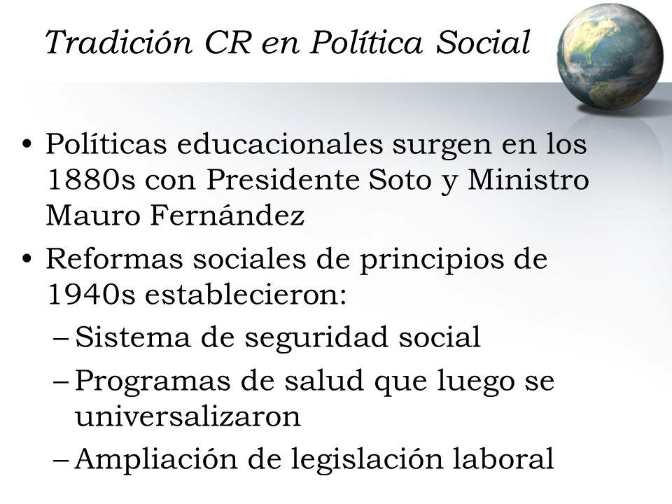 Tradición CR en Política Social Políticas educacionales surgen en los 1880s con Presidente Soto y Ministro Mauro Fernández Reformas sociales de princi