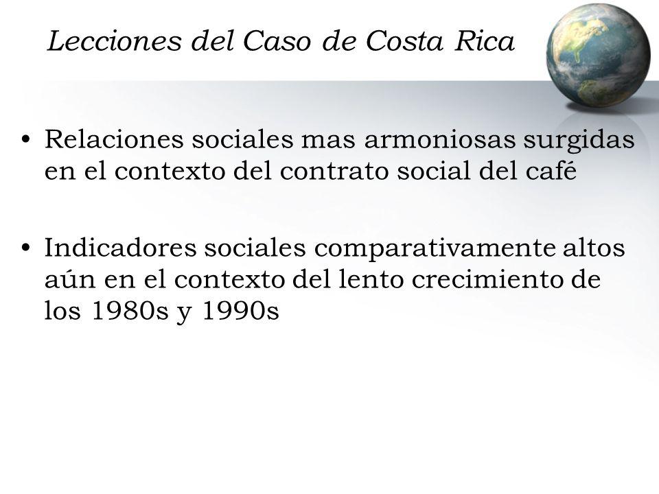 Lecciones del Caso de Costa Rica Relaciones sociales mas armoniosas surgidas en el contexto del contrato social del café Indicadores sociales comparat