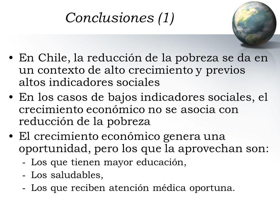 Conclusiones (1) En Chile, la reducción de la pobreza se da en un contexto de alto crecimiento y previos altos indicadores sociales En los casos de ba