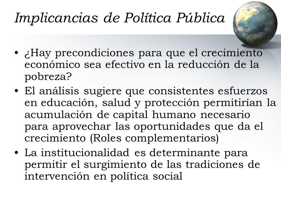 Implicancias de Política Pública ¿Hay precondiciones para que el crecimiento económico sea efectivo en la reducción de la pobreza? El análisis sugiere