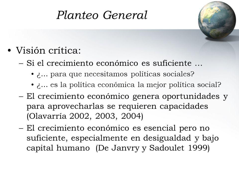 Planteo General Visión crítica: –Si el crecimiento económico es suficiente … ¿… para que necesitamos políticas sociales? ¿… es la política económica l