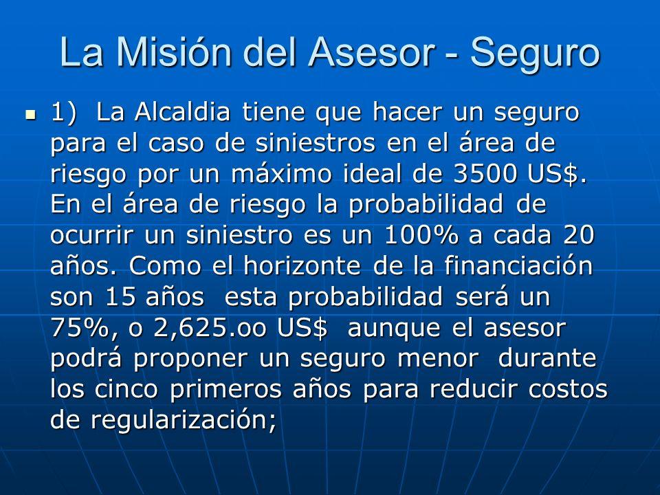 La Misión del Asesor - Seguro 1) La Alcaldia tiene que hacer un seguro para el caso de siniestros en el área de riesgo por un máximo ideal de 3500 US$.