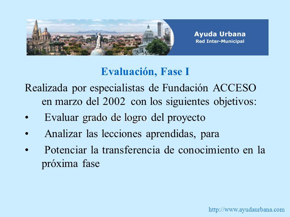 http://www.ayudaurbana.com Evaluación, Fase I Realizada por especialistas de Fundación ACCESO en marzo del 2002 con los siguientes objetivos: grado de