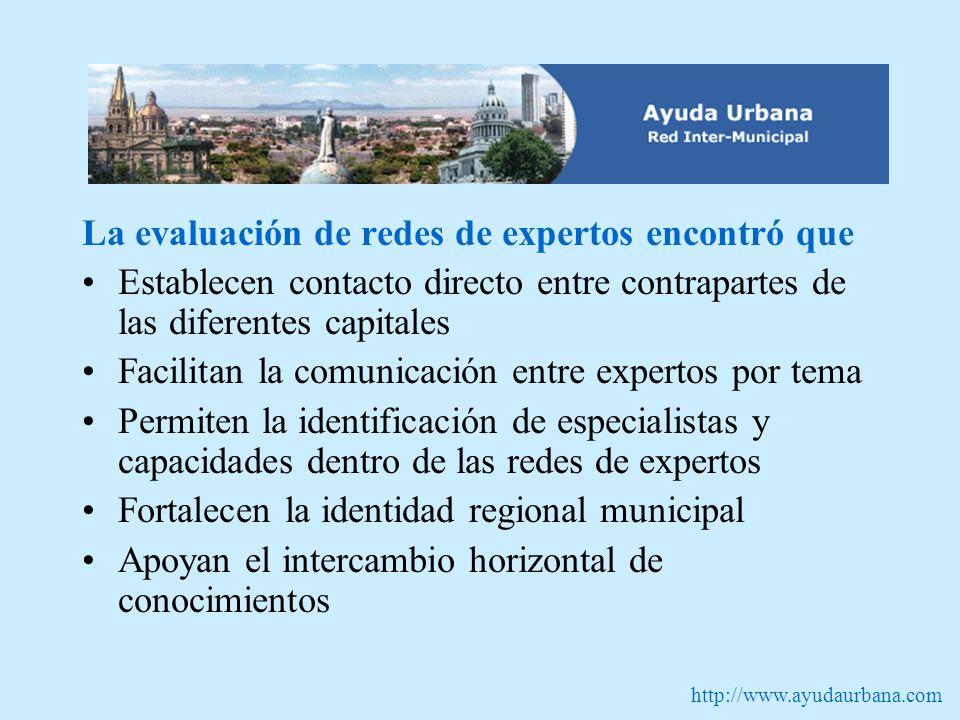 http://www.ayudaurbana.com La evaluación de redes de expertos encontró que Establecen contacto directo entre contrapartes de las diferentes capitales