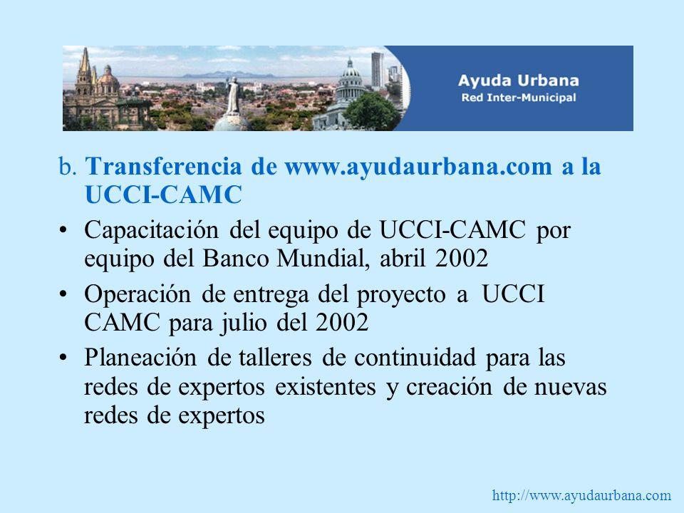 http://www.ayudaurbana.com b. Transferencia de www.ayudaurbana.com a la UCCI-CAMC Capacitación del equipo de UCCI-CAMC por equipo del Banco Mundial, a
