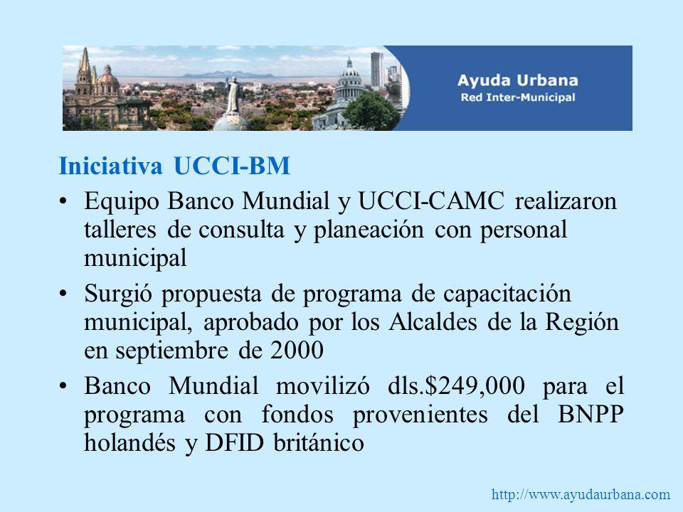http://www.ayudaurbana.com Iniciativa UCCI-BM Equipo Banco Mundial y UCCI-CAMC realizaron talleres de consulta y planeación con personal municipal Sur
