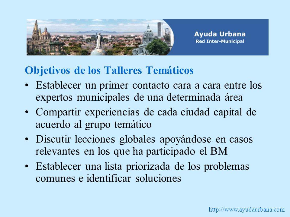 http://www.ayudaurbana.com Objetivos de los Talleres Temáticos Establecer un primer contacto cara a cara entre los expertos municipales de una determi